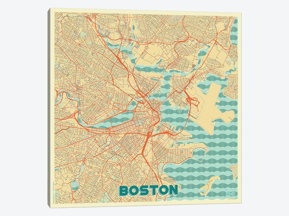 Boston Retro Urban Blueprint Map by Hubert Roguski 1-piece Canvas Artwork