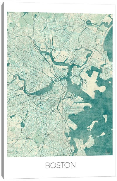 Boston Vintage Blue Watercolor Urban Blueprint Map Canvas Art Print