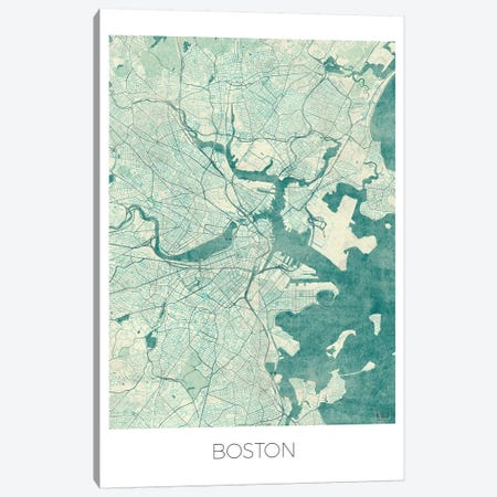 Boston Vintage Blue Watercolor Urban Blueprint Map Canvas Print #HUR54} by Hubert Roguski Canvas Print