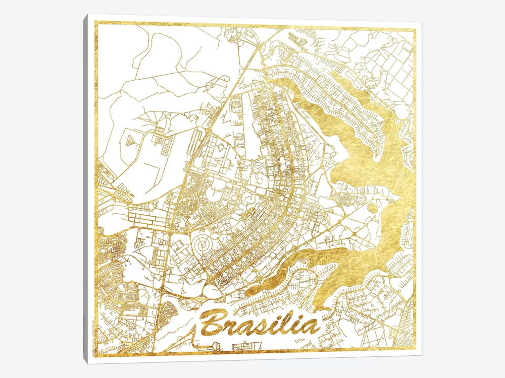 Brasilia Gold Leaf Urban Blueprint Map by Hubert Roguski 1-piece Canvas Wall Art