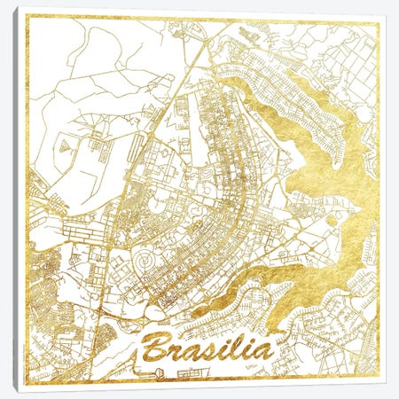 Brasilia Gold Leaf Urban Blueprint Map 3-Piece Canvas #HUR55} by Hubert Roguski Canvas Art Print