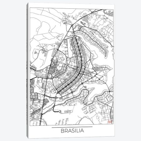 Brasilia Minimal Urban Blueprint Map Canvas Print #HUR56} by Hubert Roguski Canvas Print
