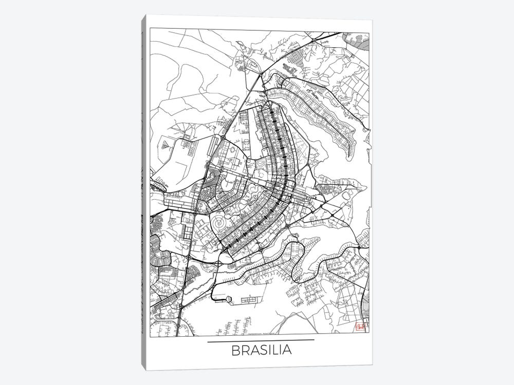 Brasilia Minimal Urban Blueprint Map by Hubert Roguski 1-piece Canvas Print