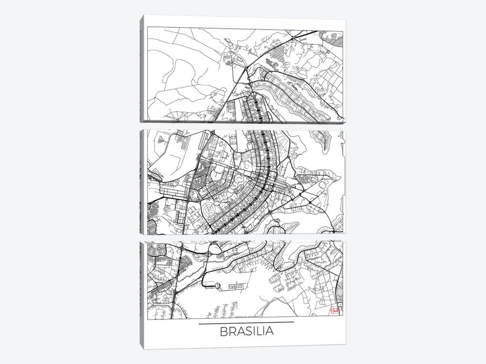 Brasilia Minimal Urban Blueprint Map by Hubert Roguski 3-piece Canvas Art Print