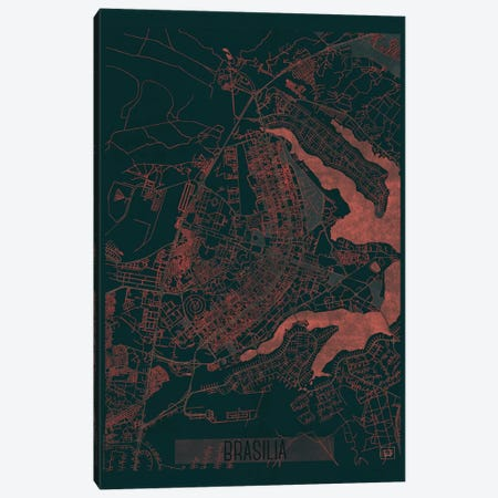 Brasilia Infrared Urban Blueprint Map Canvas Print #HUR57} by Hubert Roguski Art Print
