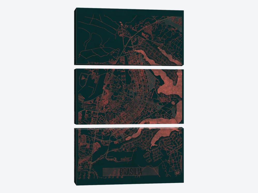 Brasilia Infrared Urban Blueprint Map by Hubert Roguski 3-piece Canvas Wall Art