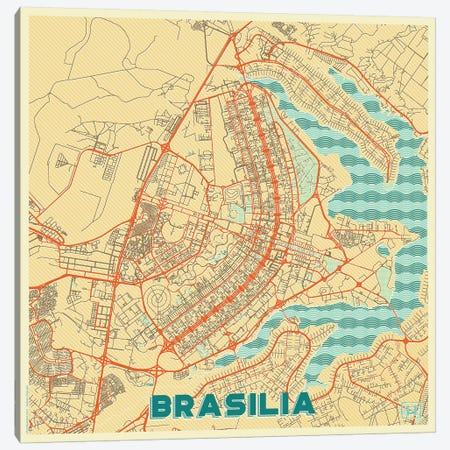 Brasilia Retro Urban Blueprint Map Canvas Print #HUR58} by Hubert Roguski Canvas Wall Art