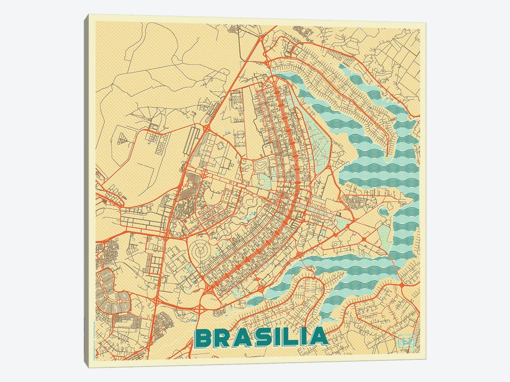 Brasilia Retro Urban Blueprint Map by Hubert Roguski 1-piece Canvas Art Print