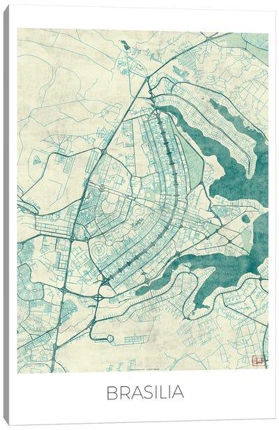 Brasilia Vintage Blue Watercolor Urban Blueprint Map Canvas Art Print