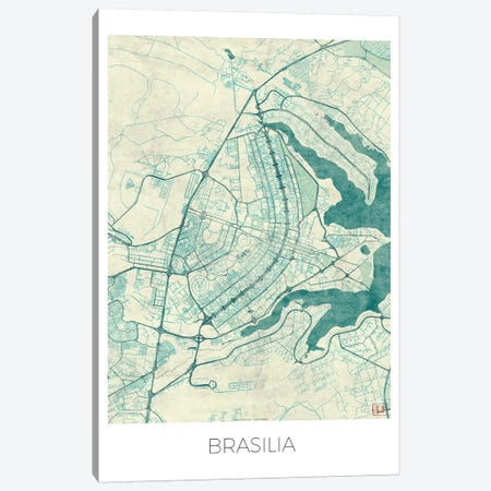 Brasilia Vintage Blue Watercolor Urban Blueprint Map Canvas Print #HUR59} by Hubert Roguski Canvas Art