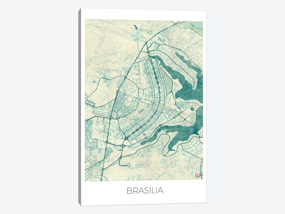 Brasilia Vintage Blue Watercolor Urban Blueprint Map by Hubert Roguski 1-piece Canvas Art