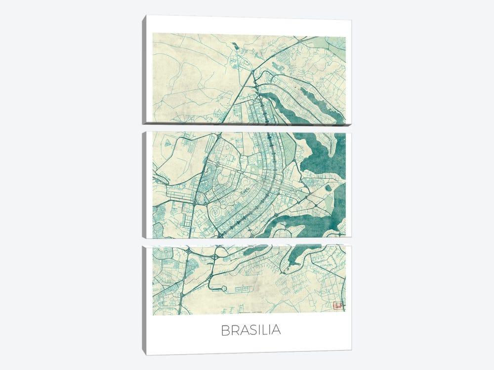 Brasilia Vintage Blue Watercolor Urban Blueprint Map by Hubert Roguski 3-piece Canvas Art