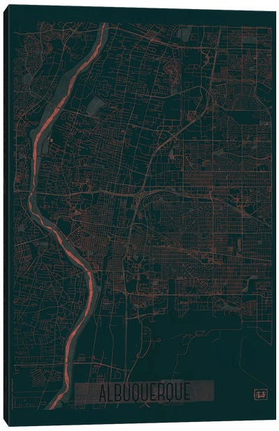 Albuquerque Infrared Urban Blueprint Map Canvas Art Print