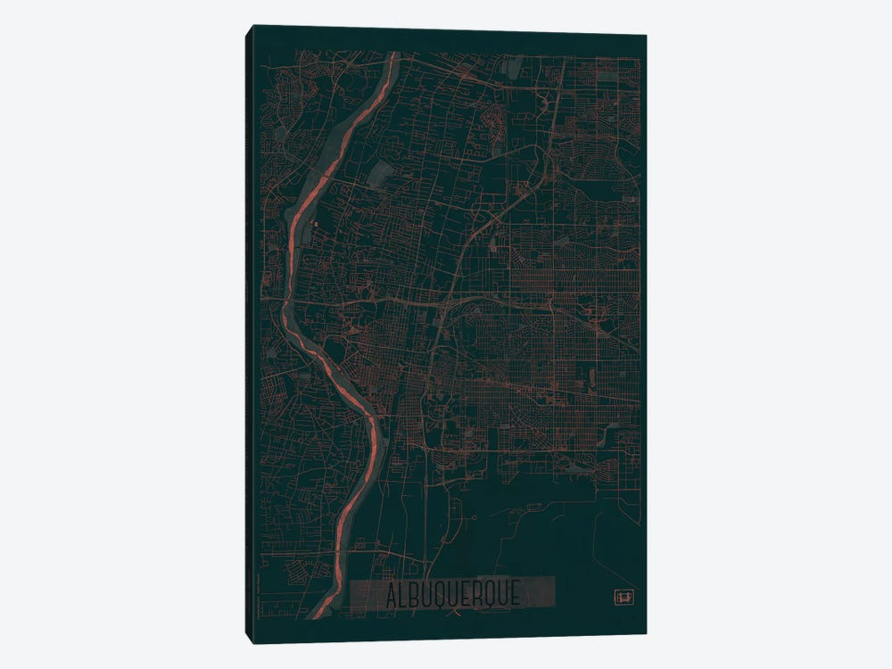 Albuquerque Infrared Urban Blueprint Map by Hubert Roguski 1-piece Canvas Artwork