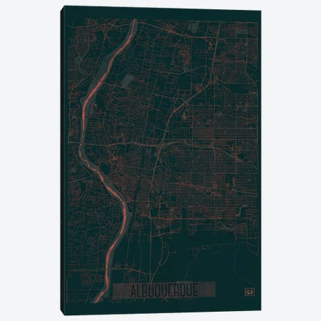 Albuquerque Infrared Urban Blueprint Map 3-Piece Canvas #HUR5} by Hubert Roguski Canvas Art Print