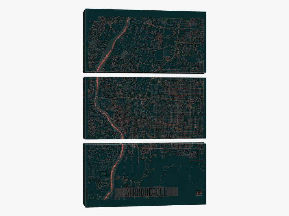 Albuquerque Infrared Urban Blueprint Map by Hubert Roguski 3-piece Canvas Art