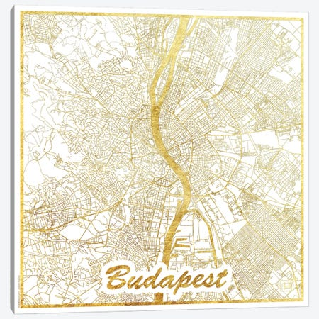 Budapest Gold Leaf Urban Blueprint Map 3-Piece Canvas #HUR60} by Hubert Roguski Art Print