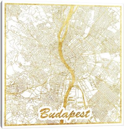 Budapest Gold Leaf Urban Blueprint Map Canvas Art Print