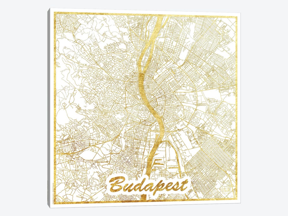 Budapest Gold Leaf Urban Blueprint Map by Hubert Roguski 1-piece Canvas Wall Art