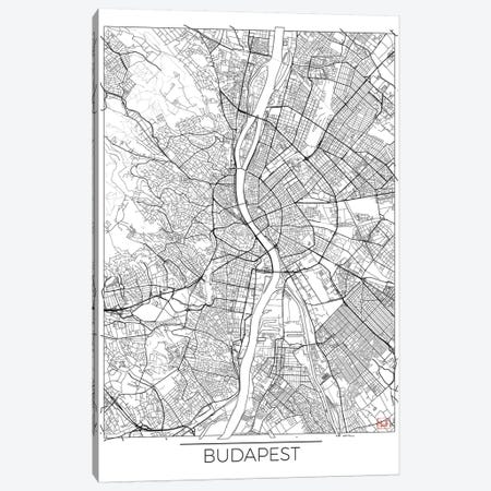 Budapest Minimal Urban Blueprint Map 3-Piece Canvas #HUR61} by Hubert Roguski Art Print