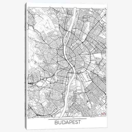 Budapest Minimal Urban Blueprint Map Canvas Print #HUR61} by Hubert Roguski Art Print