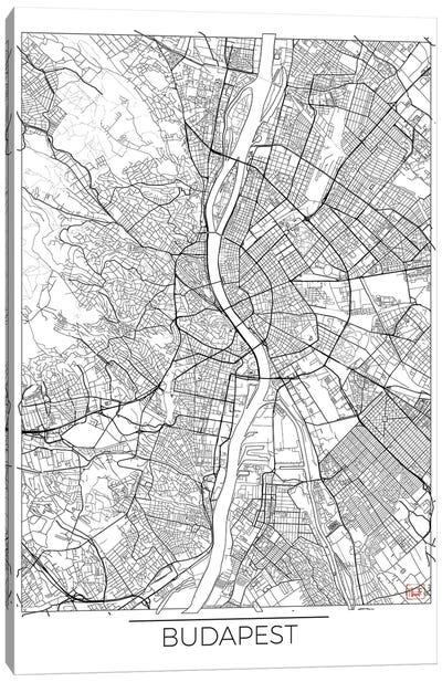 Budapest Minimal Urban Blueprint Map Canvas Art Print