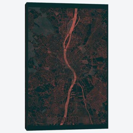 Budapest Infrared Urban Blueprint Map 3-Piece Canvas #HUR62} by Hubert Roguski Canvas Art Print