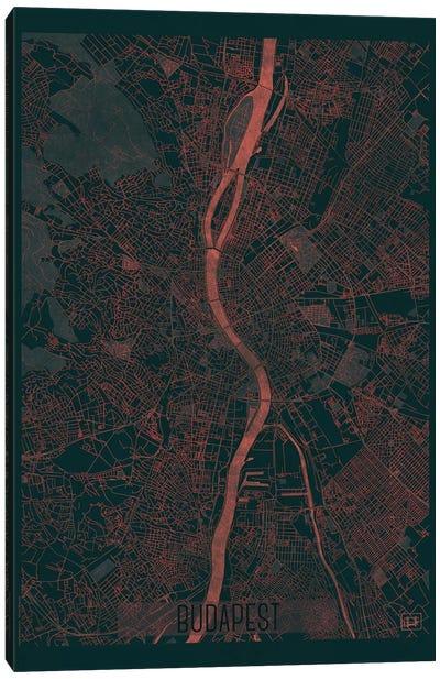 Budapest Infrared Urban Blueprint Map Canvas Art Print