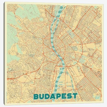 Budapest Retro Urban Blueprint Map 3-Piece Canvas #HUR63} by Hubert Roguski Art Print