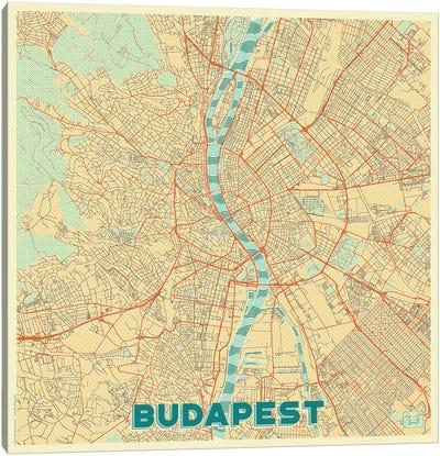 Budapest Retro Urban Blueprint Map Canvas Art Print