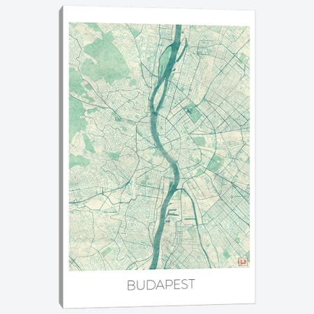 Budapest Vintage Blue Watercolor Urban Blueprint Map Canvas Print #HUR64} by Hubert Roguski Canvas Wall Art