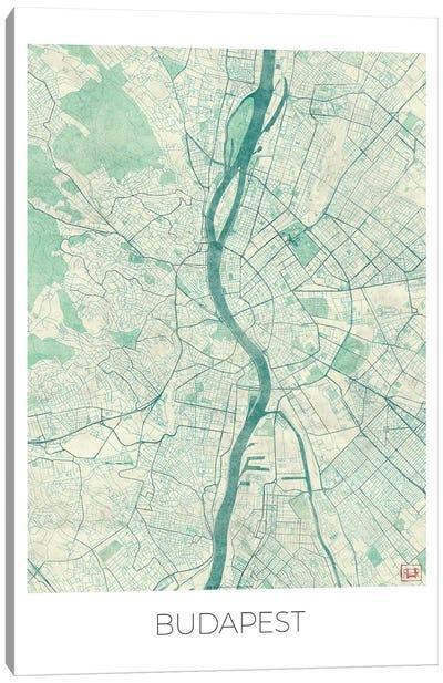 Budapest Vintage Blue Watercolor Urban Blueprint Map Canvas Art Print
