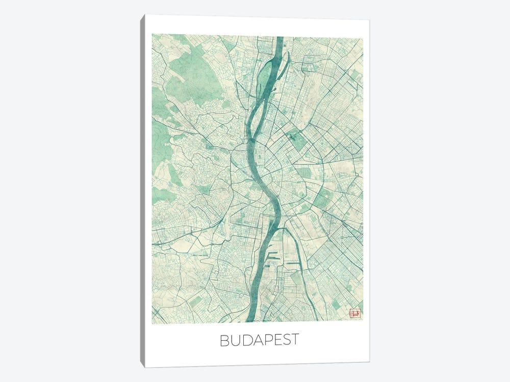 Budapest Vintage Blue Watercolor Urban Blueprint Map by Hubert Roguski 1-piece Canvas Artwork