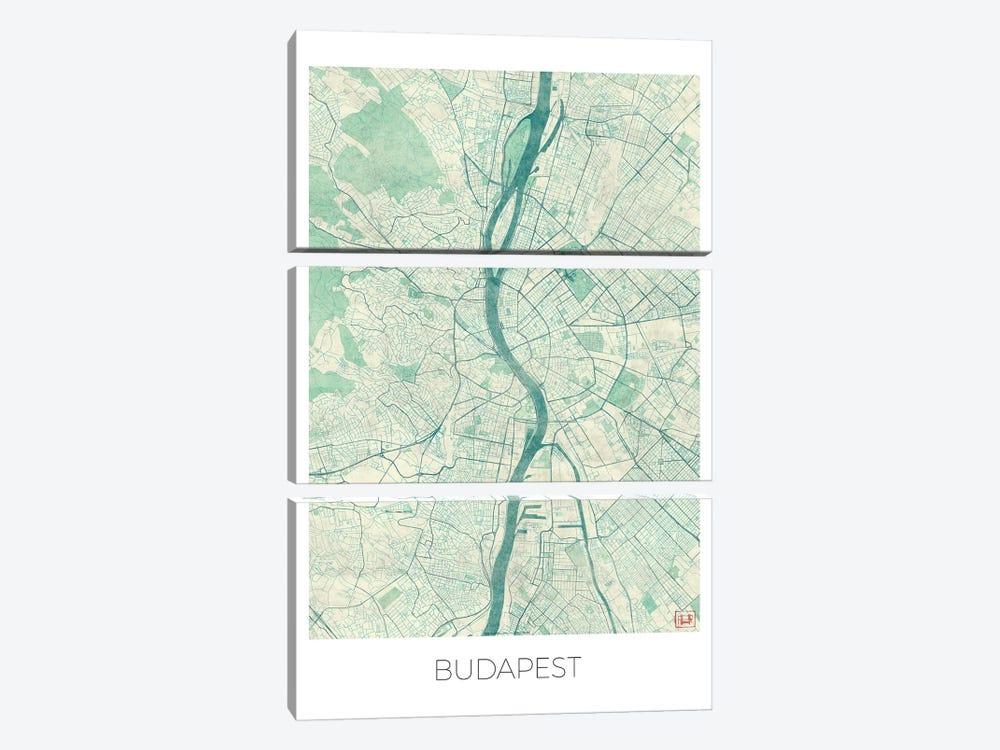 Budapest Vintage Blue Watercolor Urban Blueprint Map by Hubert Roguski 3-piece Canvas Artwork