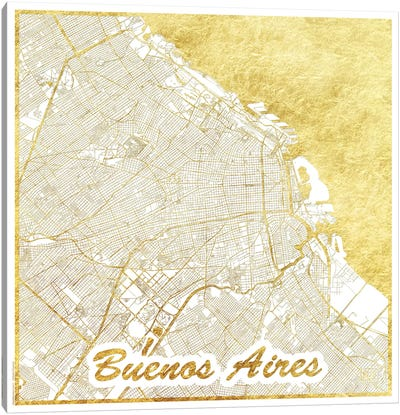 Buenos Aires Gold Leaf Urban Blueprint Map Canvas Art Print