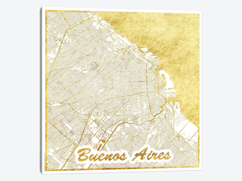 Buenos Aires Gold Leaf Urban Blueprint Map by Hubert Roguski 1-piece Canvas Print