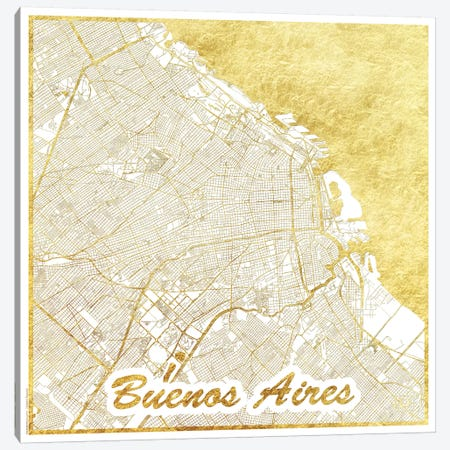 Buenos Aires Gold Leaf Urban Blueprint Map 3-Piece Canvas #HUR65} by Hubert Roguski Canvas Art