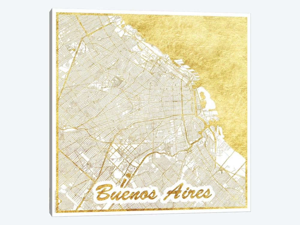 Buenos Aires Gold Leaf Urban Blueprint Map by Hubert Roguski 1-piece Canvas Print