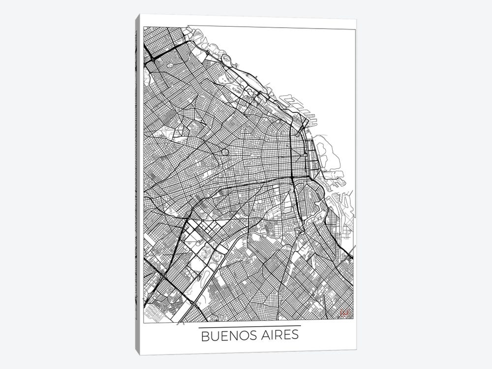 Buenos Aires Minimal Urban Blueprint Map by Hubert Roguski 1-piece Canvas Art