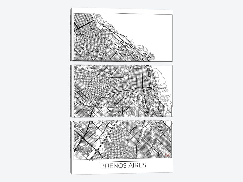 Buenos Aires Minimal Urban Blueprint Map by Hubert Roguski 3-piece Canvas Art
