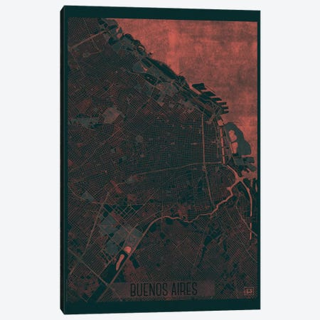 Buenos Aires Infrared Urban Blueprint Map Canvas Print #HUR67} by Hubert Roguski Canvas Wall Art