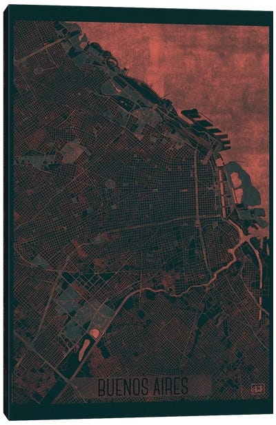 Buenos Aires Infrared Urban Blueprint Map Canvas Art Print