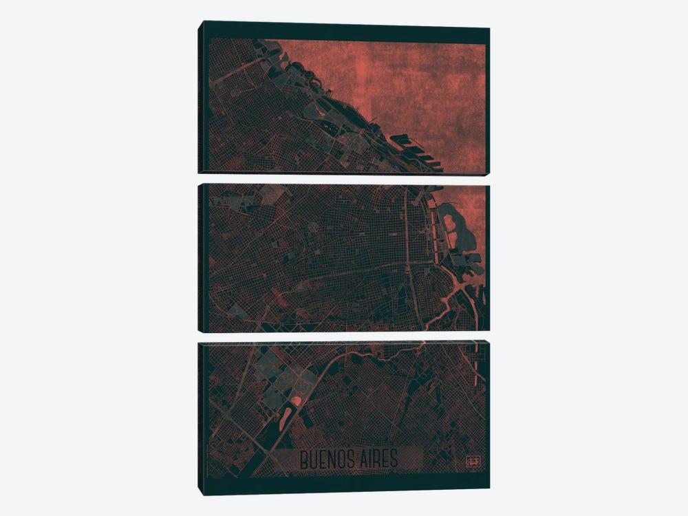 Buenos Aires Infrared Urban Blueprint Map by Hubert Roguski 3-piece Canvas Print