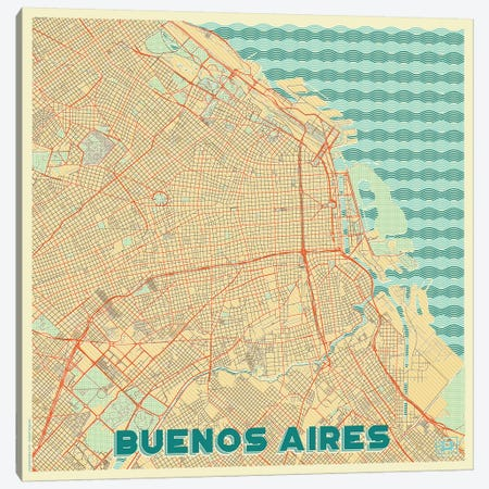 Buenos Aires Retro Urban Blueprint Map Canvas Print #HUR68} by Hubert Roguski Canvas Art Print