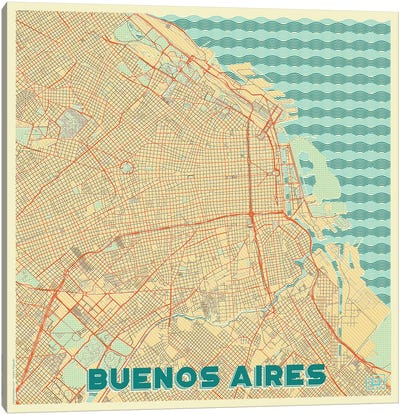 Buenos Aires Retro Urban Blueprint Map Canvas Art Print