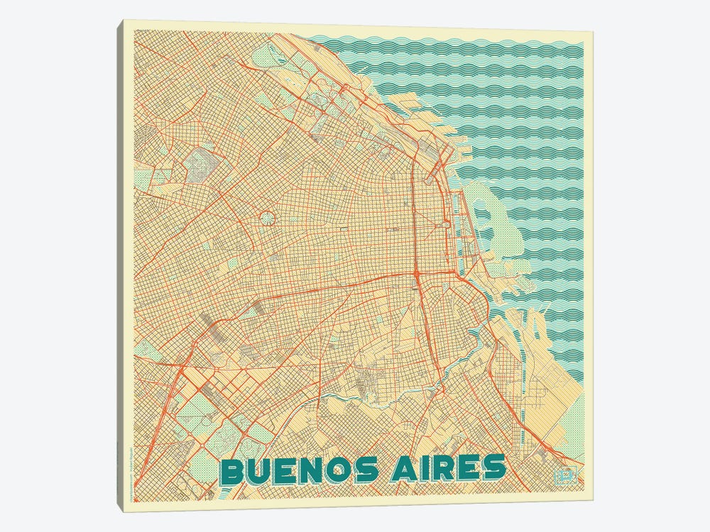 Buenos Aires Retro Urban Blueprint Map by Hubert Roguski 1-piece Canvas Art
