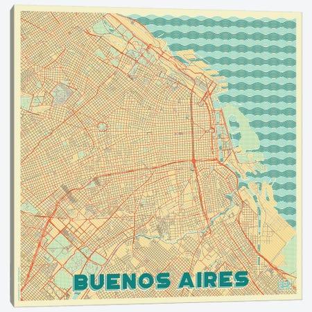 Buenos Aires Retro Urban Blueprint Map 3-Piece Canvas #HUR68} by Hubert Roguski Canvas Art Print