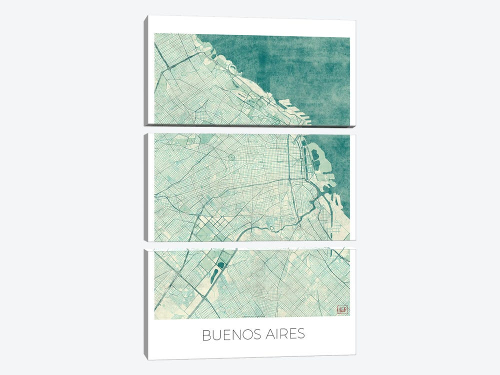 Buenos Aires Vintage Blue Watercolor Urban Blueprint Map by Hubert Roguski 3-piece Art Print