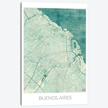 Buenos Aires Vintage Blue Watercolor Urban Blueprint Map Canvas Print #HUR69} by Hubert Roguski Canvas Print