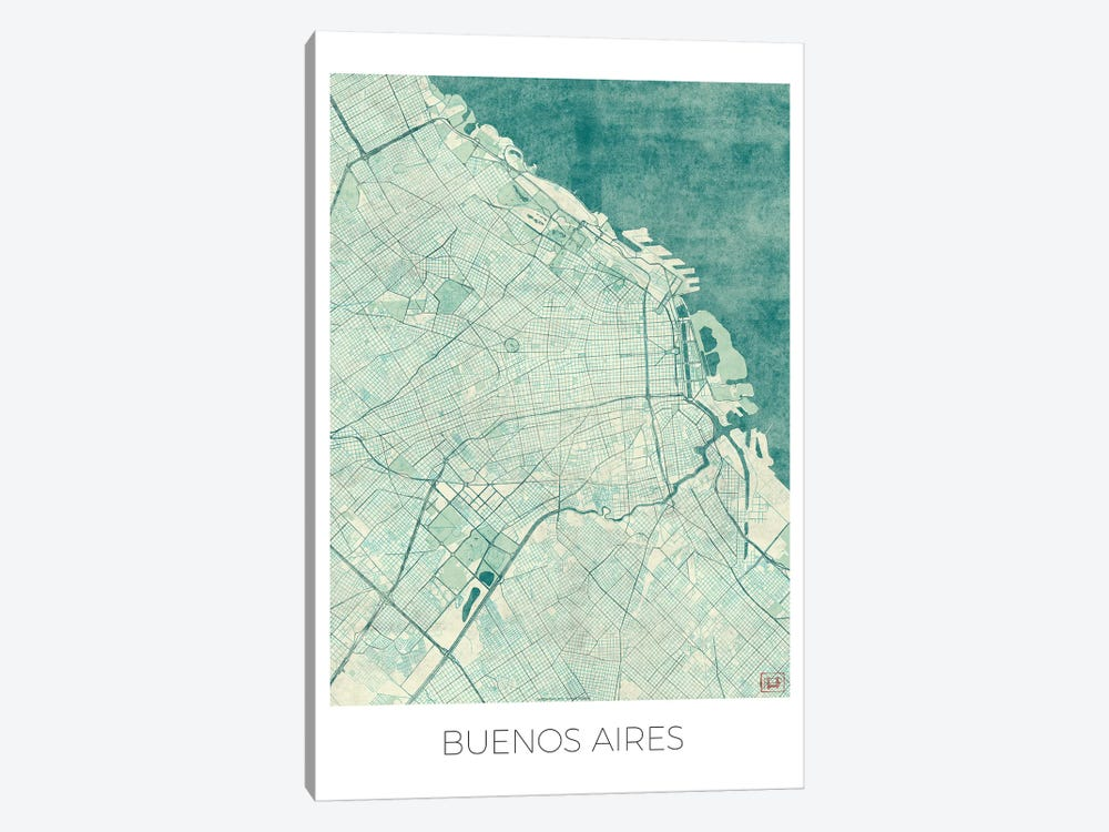 Buenos Aires Vintage Blue Watercolor Urban Blueprint Map by Hubert Roguski 1-piece Canvas Art Print
